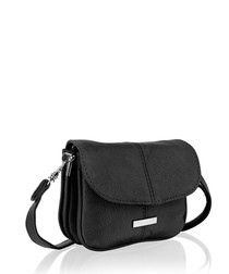 Black leather flap over shoulder bag