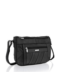 Black leather front zipped shoulder bag