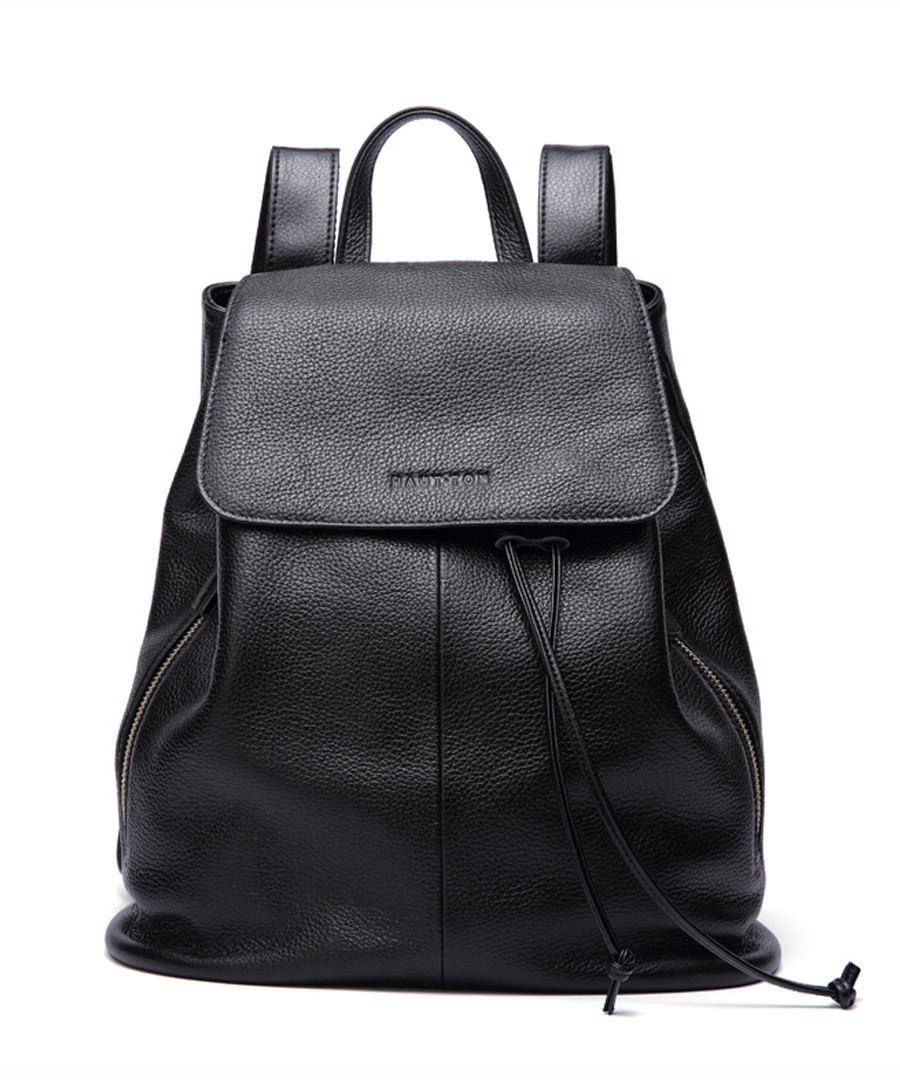 Black leather drawstring backpack  Sale - woodland leathers