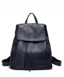 Dark blue leather drawstring backpack