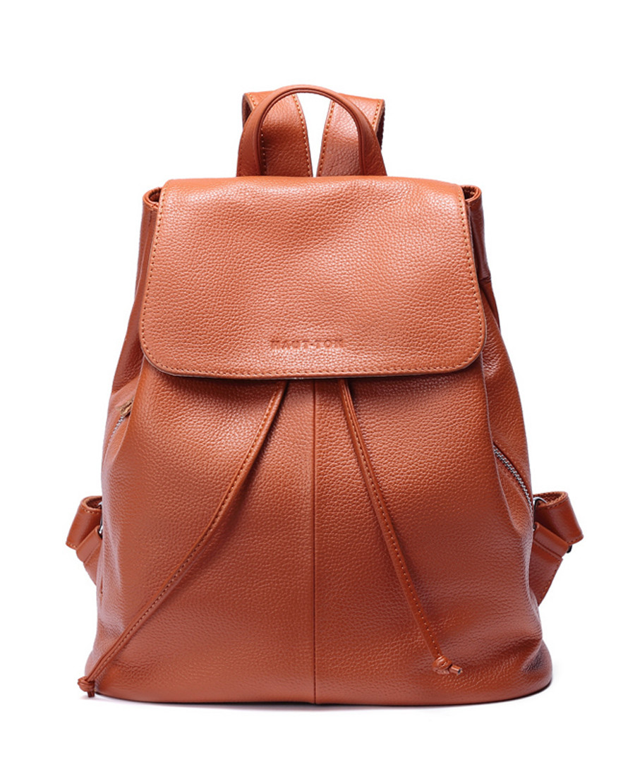 Tan leather drawstring backpack  Sale - woodland leathers