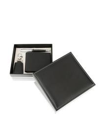 2pc black leather pen & wallet gift set