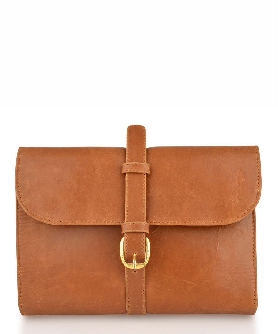 Tan leather buckle detail pouch Sale - woodland leathers