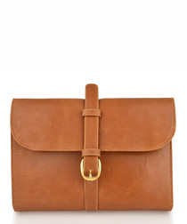 Tan leather buckle detail pouch