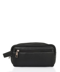 Black leather zip wash bag