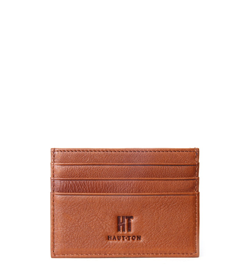 Tan leather credit card holder Sale - hautton