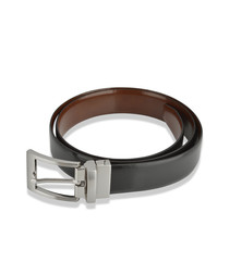 Men's black leather reversible belt