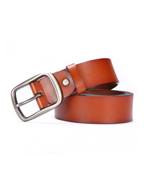 Tan leather adjustable belt