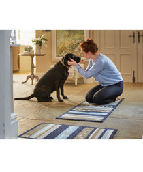 Dog Stripe khaki & blue pet mat