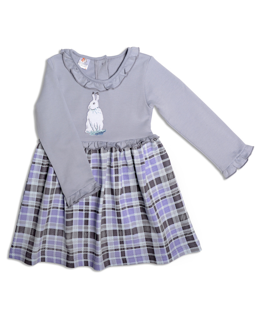Girl's Bonnie blue cotton hare dress Sale - Rosie & Leo