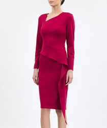 Crimson asymmetric peplum dress