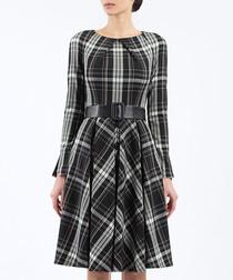 White & black check print prom dress
