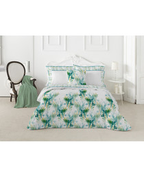 Tropical green cotton double duvet set