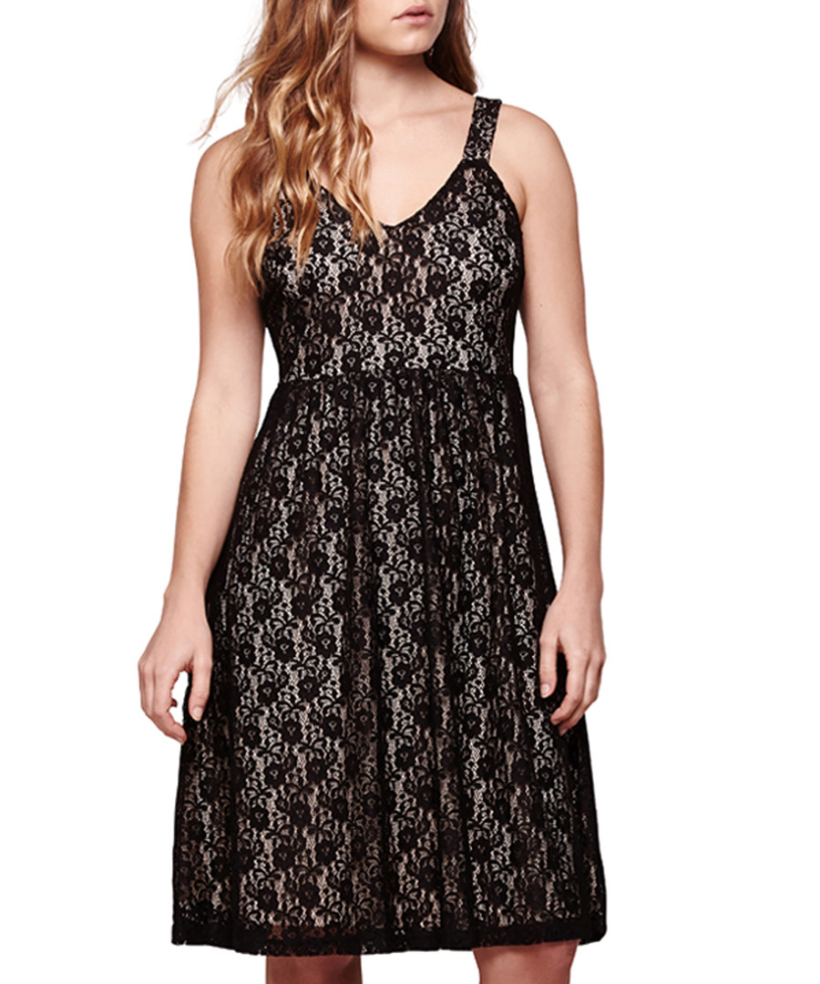 Black & nude babydoll midi dress Sale - yumi