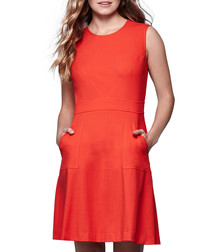 Coral orange knee-length skater dress