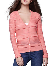 Coral cotton blend frill cardigan