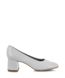 Havana white block heel courts