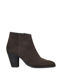 Sokka grey leather ankle boots