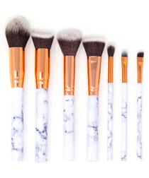 7pc white marble-effect brush set
