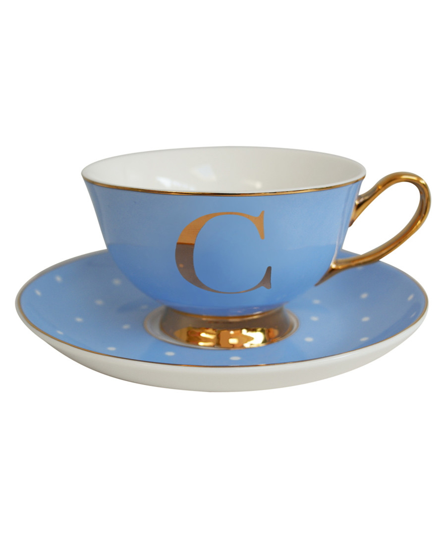 Letter C blue china teacup & saucer Sale - bombay duck