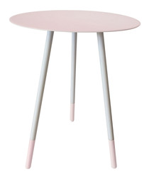 Pink enamel & metal round table
