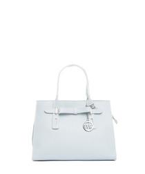 Light blue leather angled shoulder bag
