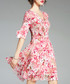 Pink pure silk floral dress Sale - ELENYUN Sale
