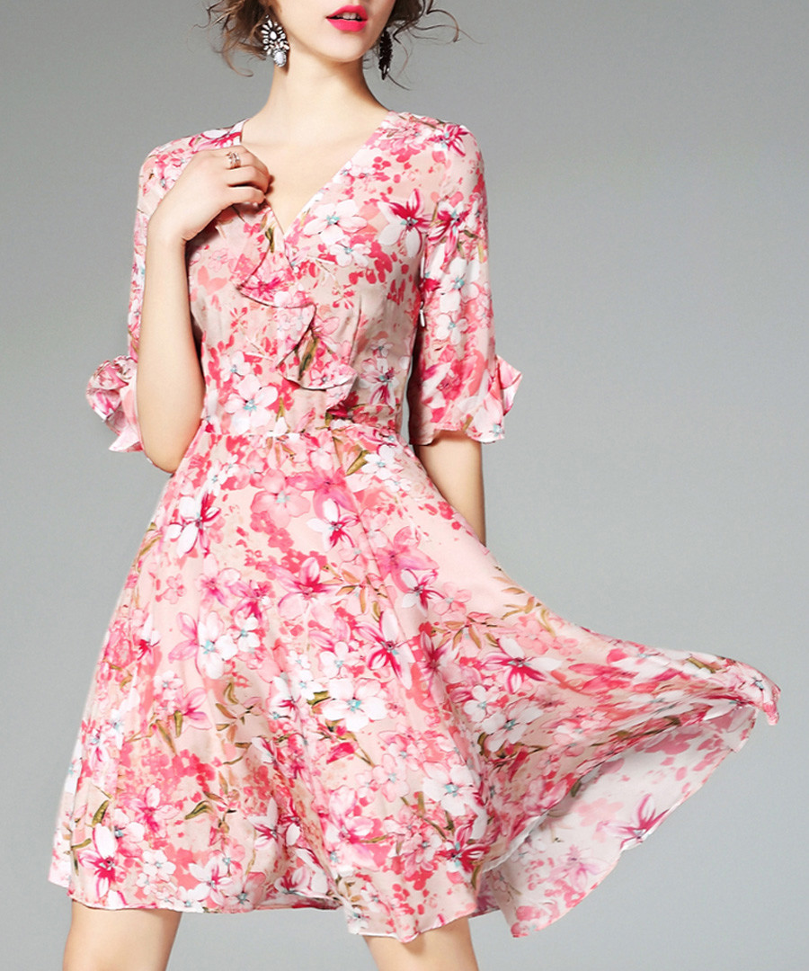 Pink pure silk floral dress Sale - ELENYUN