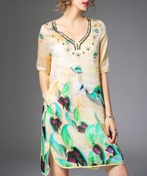 Yellow linen blend printed dress
