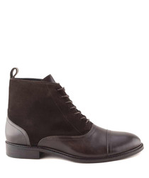 Saxon dark brown leather ankle boots