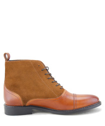Saxon tan brown leather ankle boots
