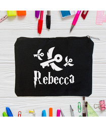 Black cotton keys personalised pouch