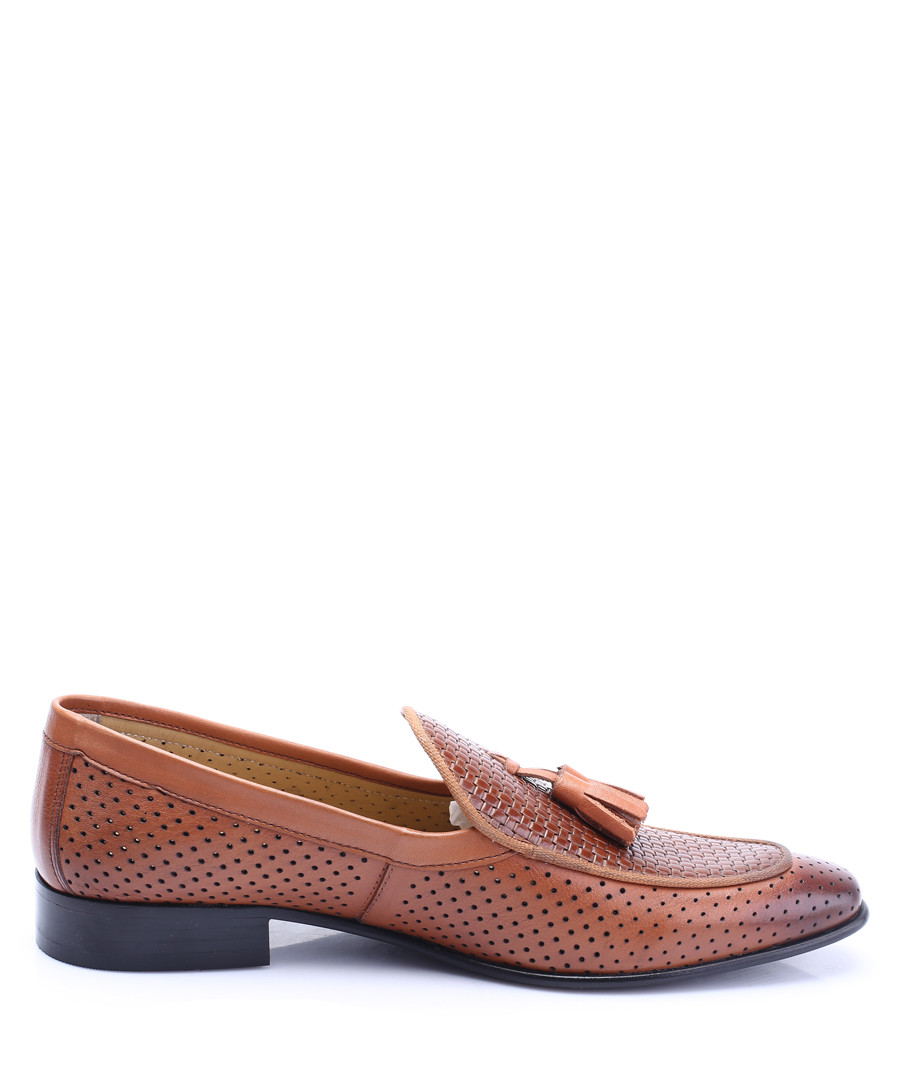 Tan leather perforated tassel loafers Sale - s baker