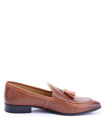 Tan leather perforated tassel loafers