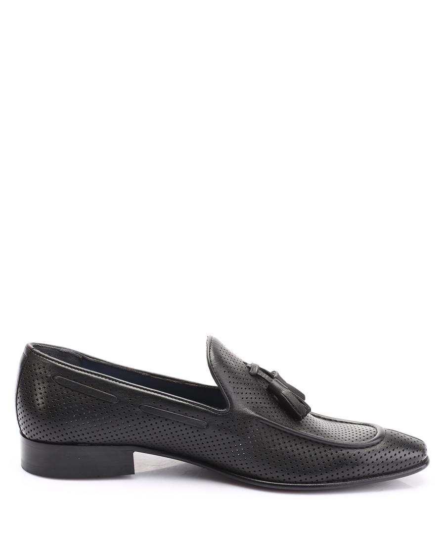 Black leather tassel detail loafers Sale - s baker