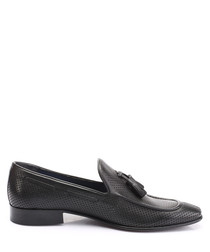 Black leather tassel detail loafers