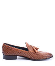 Tan leather tassel detail loafers