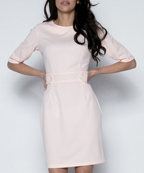 Powder pink fitted waist dress