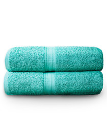 2pc turquoise pure cotton towel set