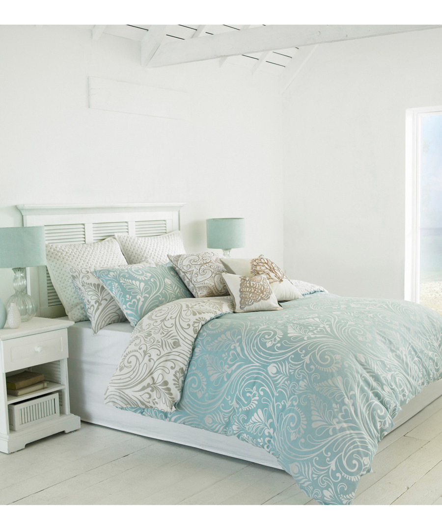 Chatsworth blue cotton double duvet set Sale - riva paoletti