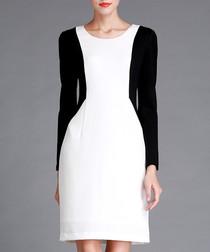Black & white knee-length dress