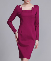 Plum cut-away neck knee-length dress