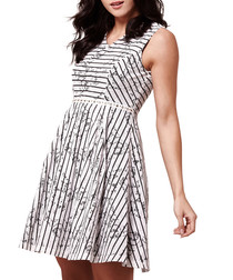 Ivory & black printed skater dress