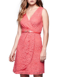 Coral wrap style knee-length dress