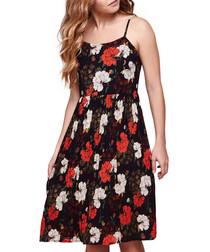 Dark blue & red floral sun dress