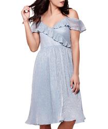 Blue ruffle detail knee-length dress