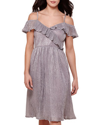 Grey ruffle detail knee-length dress