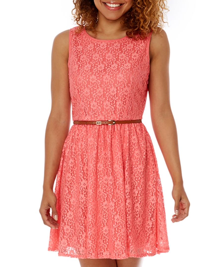 Coral lace day dress Sale - yumi