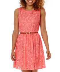 Coral lace day dress
