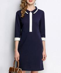 Blue contrast detail 3/4 sleeve dress